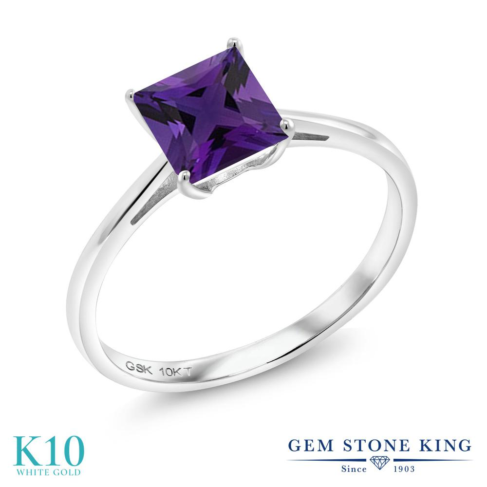 Gem Stone King 0.98カラット 天然 アメジスト 10金 ホワイトゴールド(K10) 指輪 リング レディース 一粒 シンプル ソリティア 天然石 2月 誕生石 金属アレルギー対応 誕生日プレゼント