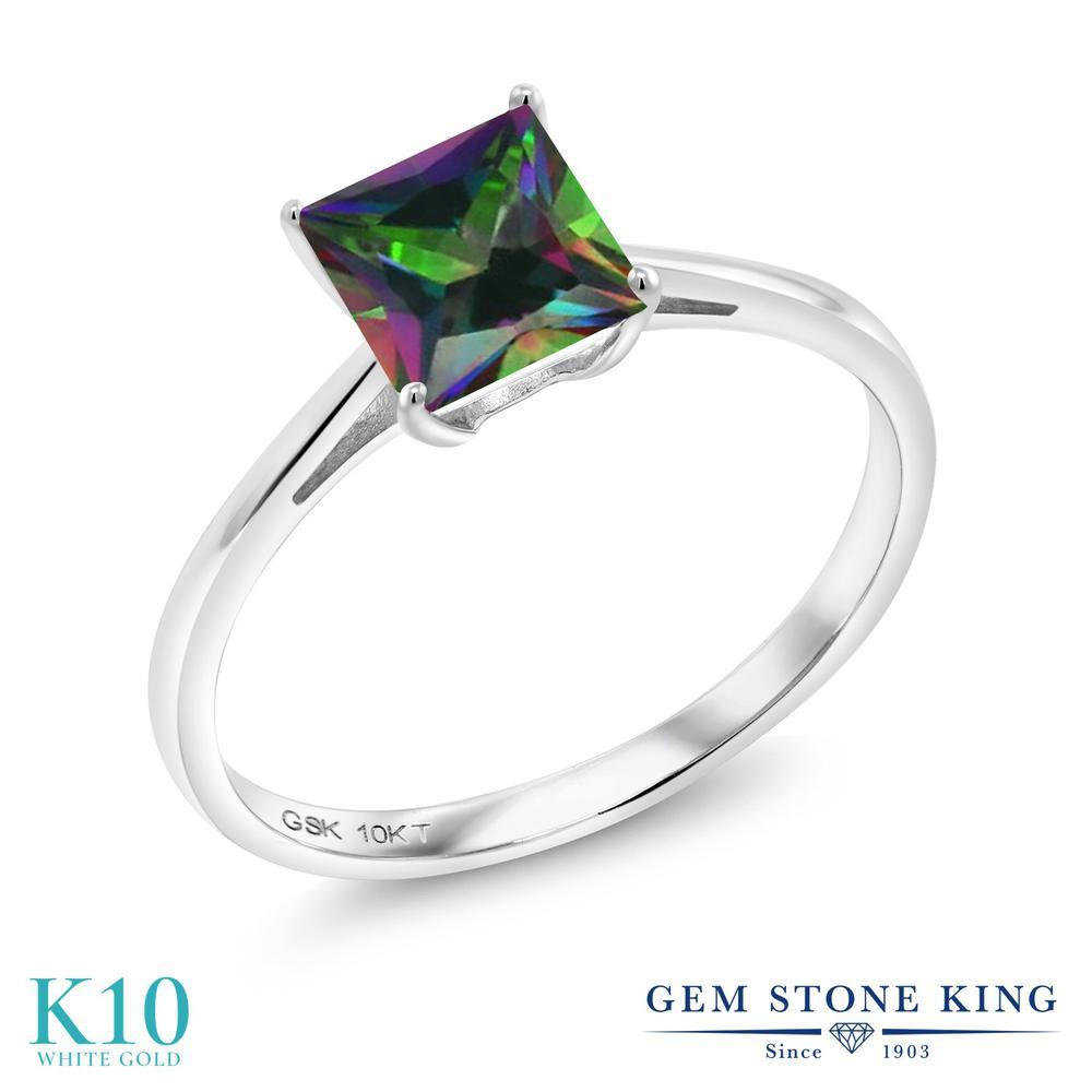 Gem Stone King 1.2カラット 天然石 ミスティックトパーズ (グリーン) 10金 ホワイトゴールド(K10) 指輪 リング レディース 大粒 一粒 シンプル ソリティア 天然石 金属アレルギー対応 誕生日プレゼント