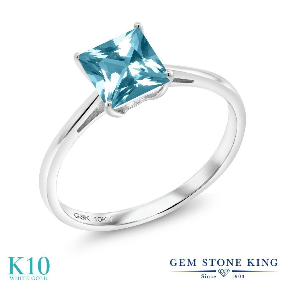Gem Stone King 1.3カラット 天然石 アイスブルートパーズ (スワロフスキー 天然石シリーズ) 10金 ホワイトゴールド(K10) 指輪 リング レディース 大粒 一粒 シンプル ソリティア 天然石 金属アレルギー対応 誕生日プレゼント