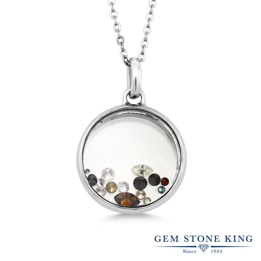 Gem Stone King 0.33カラット 天然ダイヤモンド シルバー925(純銀) ネックレス ペンダント 45cm チェーン レディース 小粒 金属アレルギー対応 誕生日プレゼント