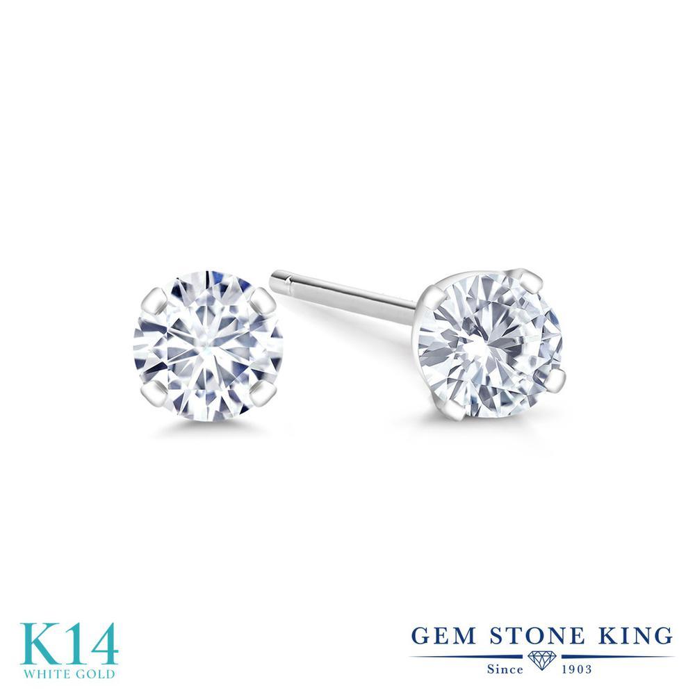 Gem Stone King 0.2カラット 合成ダイヤモンド 14金 ホワイトゴールド(K14) ピアス レディース ダイヤ 小粒 シンプル スタッド 金属アレルギー対応 誕生日プレゼント