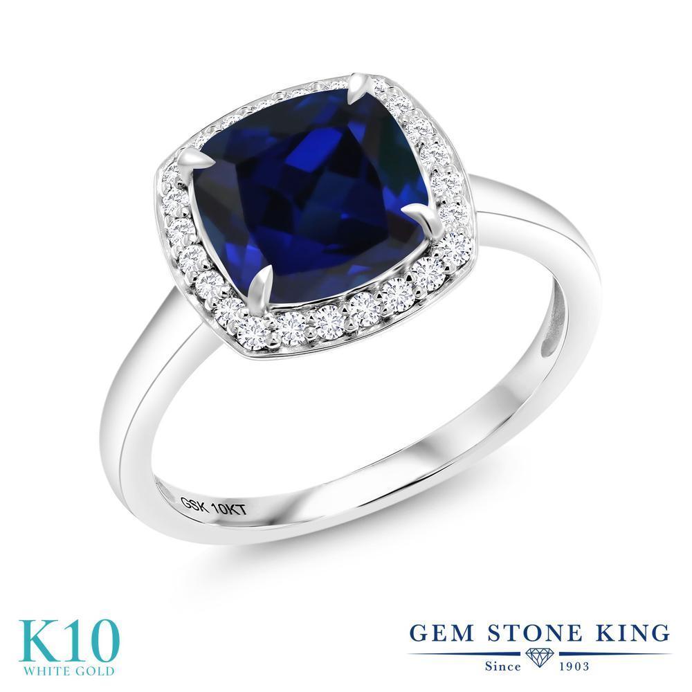 リング レディース 人気 ブランド 女性 プレゼント 2.74カラット 合成サファイア 2020新作 指輪 合成ダイヤモンド 10金 おしゃれ ホワイトデー 婚約指輪 青 ヘイロー K10 ホワイトゴールド スクエア お返し AL完売しました。 大粒 エンゲージリング