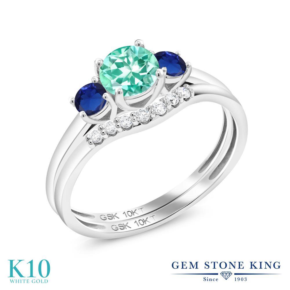 指輪 金属アレルギー対応 10金 リング 0.83カラット King 合成ダイヤモンド 小粒 天然 Gem サファイア シミュレイテッド ホワイトゴールド(K10) Stone 天然石 レディース スリーストーン アパタイト 誕生日プレゼント