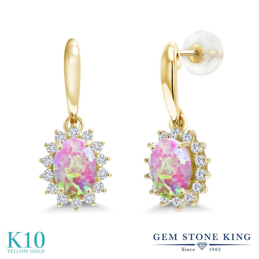 Gem Stone King 1.51カラット シミュレイテッド ピンクオパール 合成ダイヤモンド 10金 イエローゴールド(K10) ピアス レディース ぶら下がり 10月 誕生石 金属アレルギー対応 誕生日プレゼント