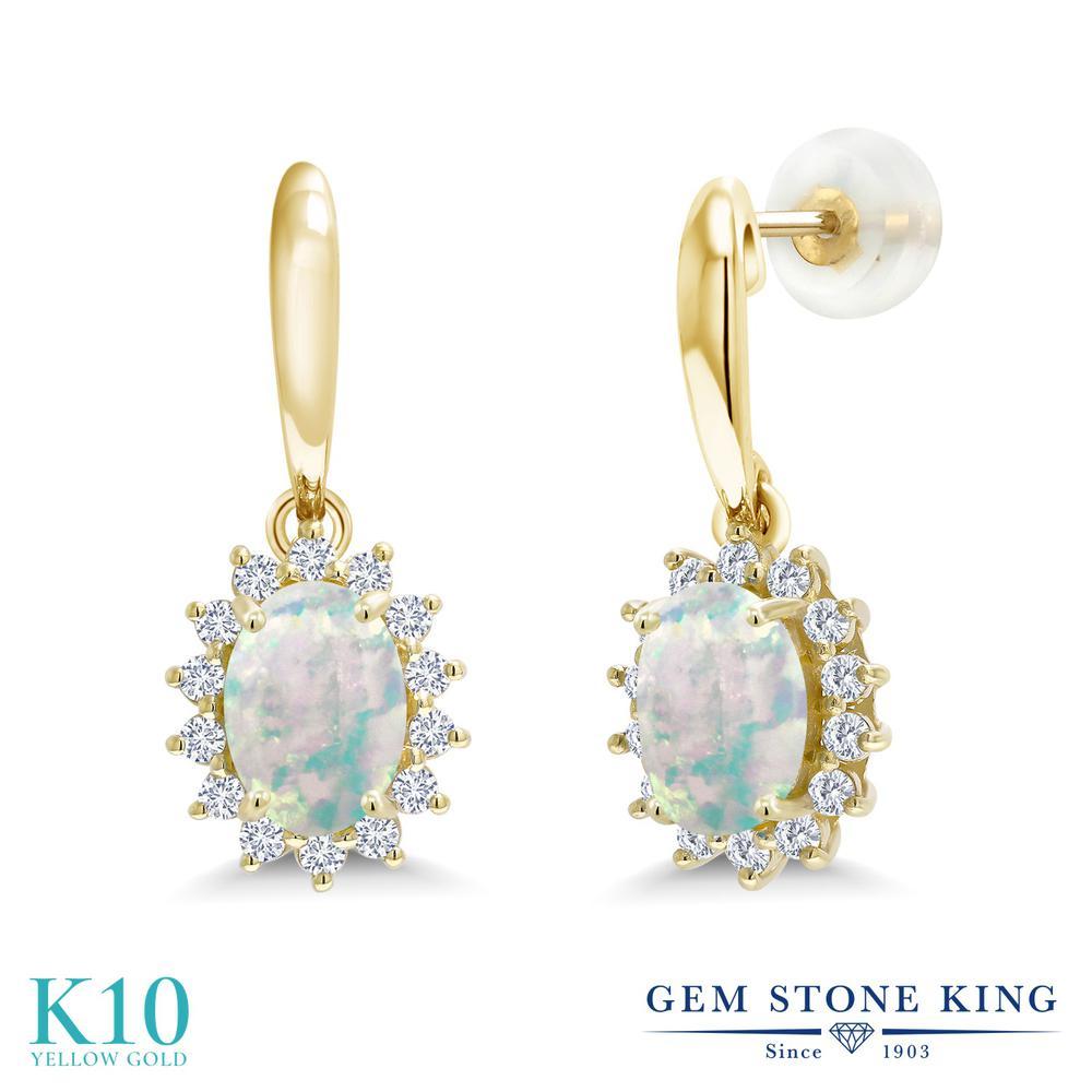 Gem Stone King 1.51カラット シミュレイテッド ホワイトオパール 合成ダイヤモンド 10金 イエローゴールド(K10) ピアス レディース ぶら下がり 10月 誕生石 金属アレルギー対応 誕生日プレゼント