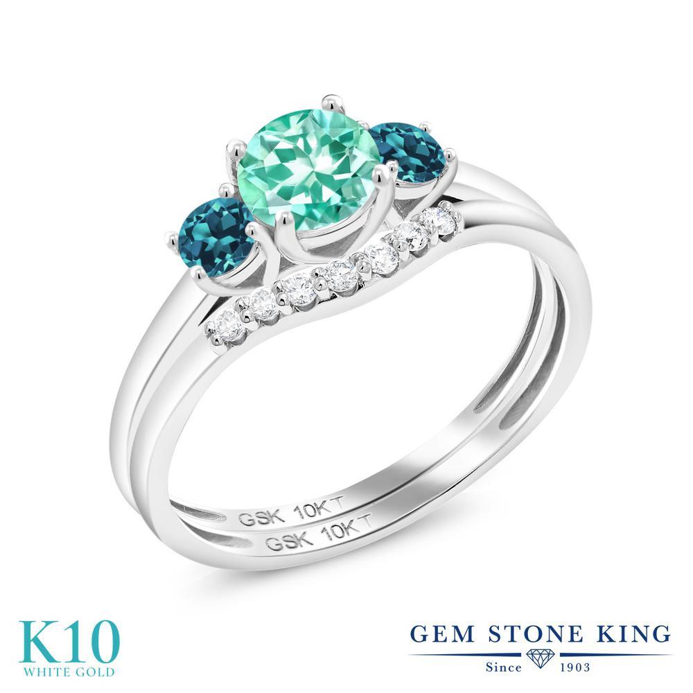 0.83カラット 天然 アパタイト 指輪 レディース リング ロンドンブルートパーズ 合成ダイヤモンド 10金 ホワイトゴールド K10 ブランド おしゃれ 2連 重ね着け 青 小粒 細身 スリーストーン 天然石 婚約指輪セット エンゲージリング