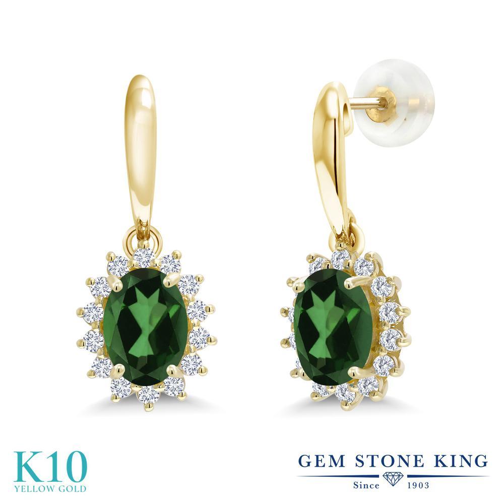 Gem Stone King 1.85カラット 天然石 ミスティックトパーズ (エメラルドグリーン) 合成ダイヤモンド 10金 イエローゴールド(K10) ピアス レディース ぶら下がり 天然石 金属アレルギー対応 誕生日プレゼント