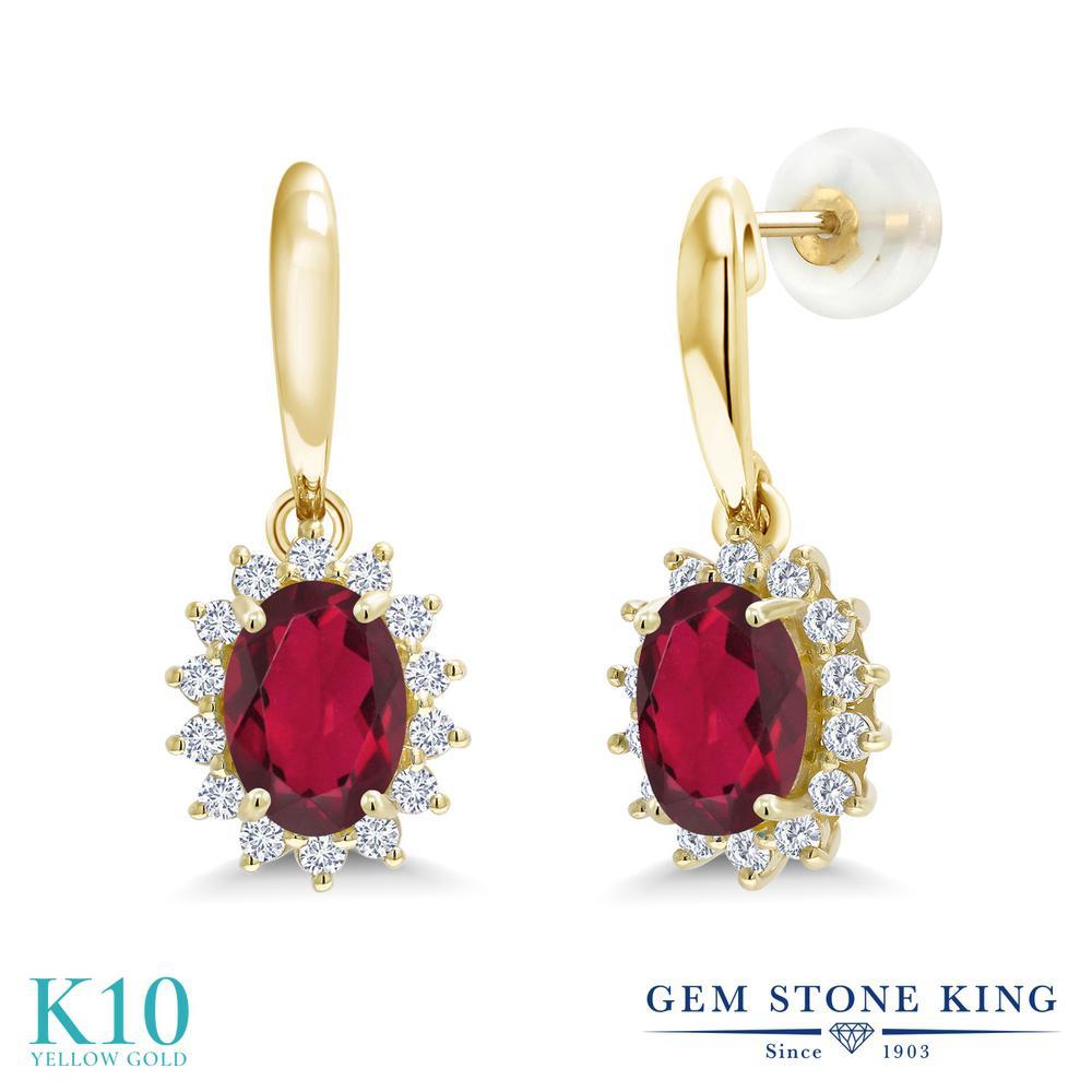Gem Stone King 1.85カラット 天然 ミスティックトパーズ (ルビーレッド) 合成ダイヤモンド 10金 イエローゴールド(K10) ピアス レディース ぶら下がり 天然石 金属アレルギー対応 誕生日プレゼント