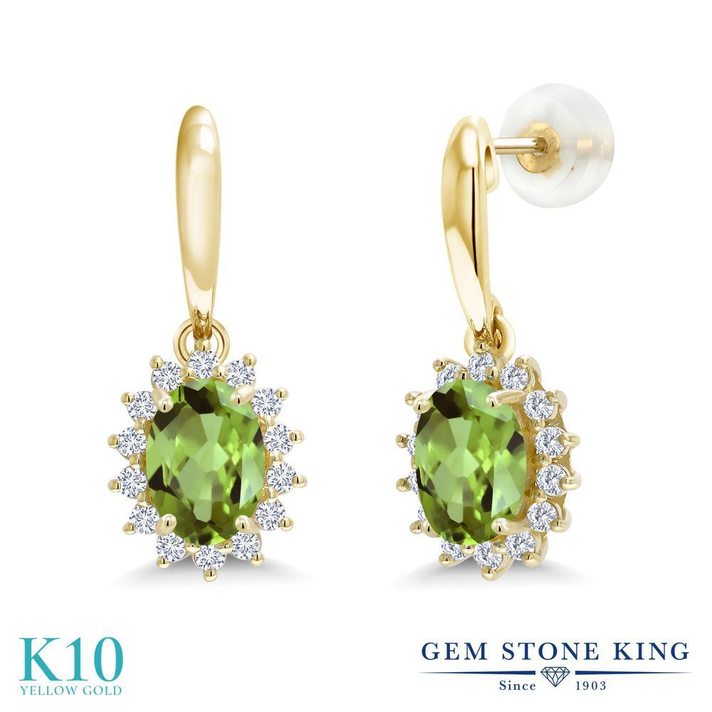 Gem Stone King 1.85カラット 天然石 ペリドット 合成ダイヤモンド 10金 イエローゴールド(K10) ピアス レディース ぶら下がり 天然石 8月 誕生石 金属アレルギー対応 誕生日プレゼント