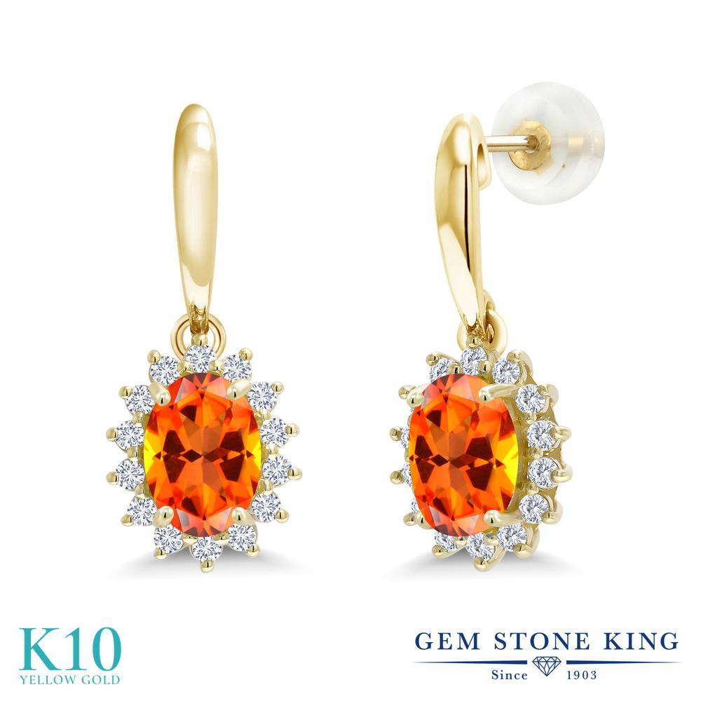 Gem Stone King 2.25カラット 天然石 トパーズ ポピー (スワロフスキー 天然石シリーズ) 合成ダイヤモンド 10金 イエローゴールド(K10) ピアス レディース 大粒 ぶら下がり 天然石 金属アレルギー対応 誕生日プレゼント