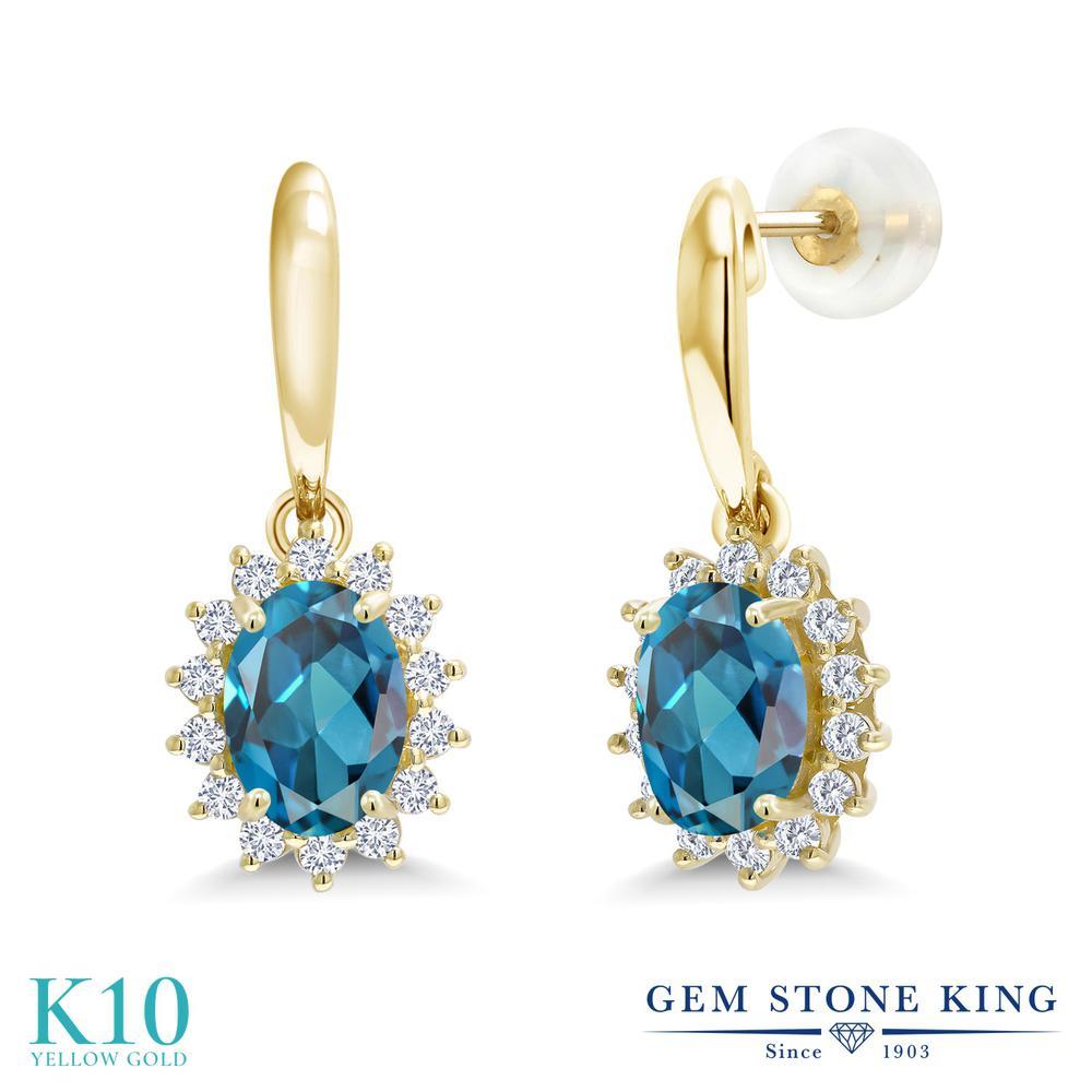Gem Stone King 2.05カラット 天然 ロンドンブルートパーズ 合成ダイヤモンド 10金 イエローゴールド(K10) ピアス レディース ぶら下がり 天然石 11月 誕生石 金属アレルギー対応 誕生日プレゼント