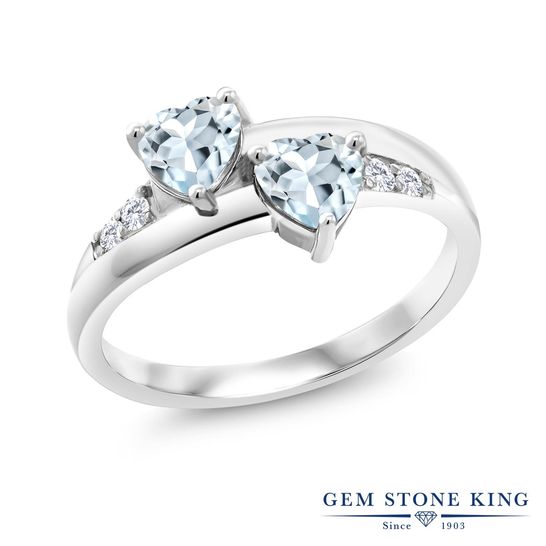 0.84カラット 天然 アクアマリン 合成ダイヤモンド 指輪 リング レディース シルバー925 小粒 バイパス 天然石 3月 誕生石 金属アレルギー対応