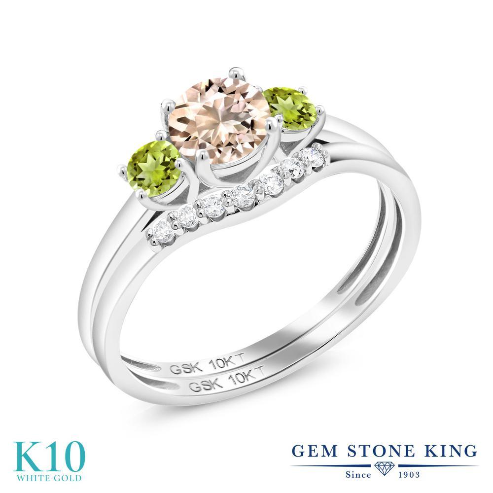 0.71カラット 天然 モルガナイト (ピーチ) 天然石 ペリドット 合成ダイヤモンド 指輪 リング レディース 10金 ホワイトゴールド K10 小粒 スリーストーン 3月 誕生石 婚約指輪セット エンゲージリング