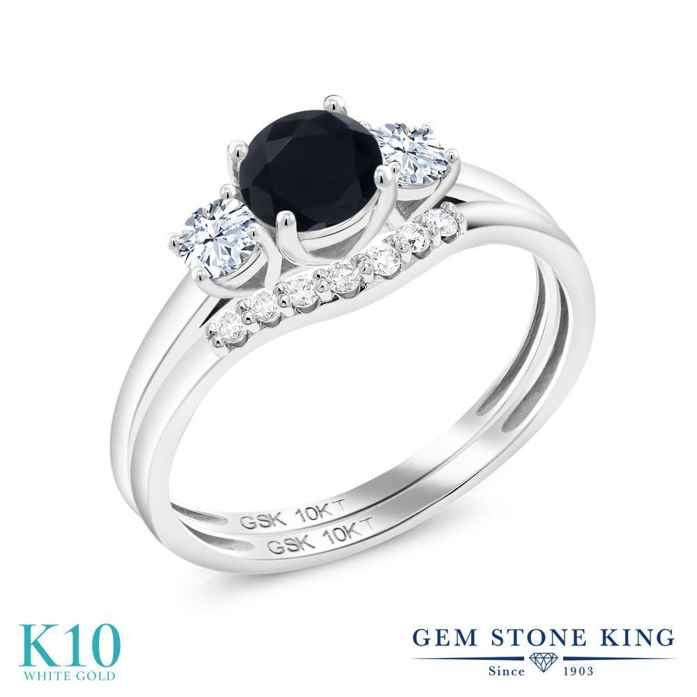 Gem Stone King 0.79カラット 天然 オニキス 合成ホワイトサファイア (ダイヤのような無色透明) 合成ダイヤモンド 10金 ホワイトゴールド(K10) 指輪 リング レディース 小粒 スリーストーン 天然石 8月 誕生石 金属アレルギー対応 誕生日プレゼント