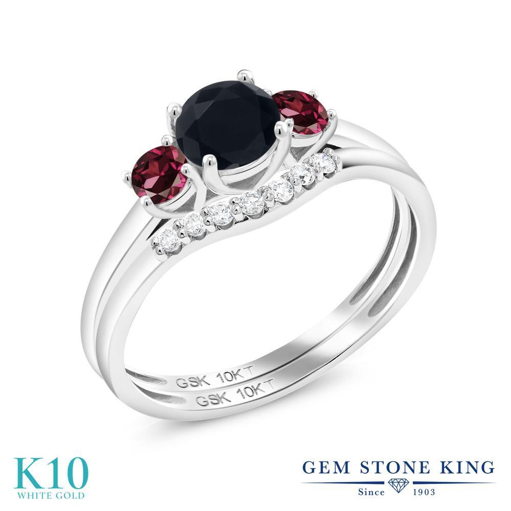 Gem Stone King 0.77カラット 天然 オニキス 天然 ロードライトガーネット 合成ダイヤモンド 10金 ホワイトゴールド(K10) 指輪 リング レディース 小粒 スリーストーン 天然石 8月 誕生石 金属アレルギー対応 誕生日プレゼント