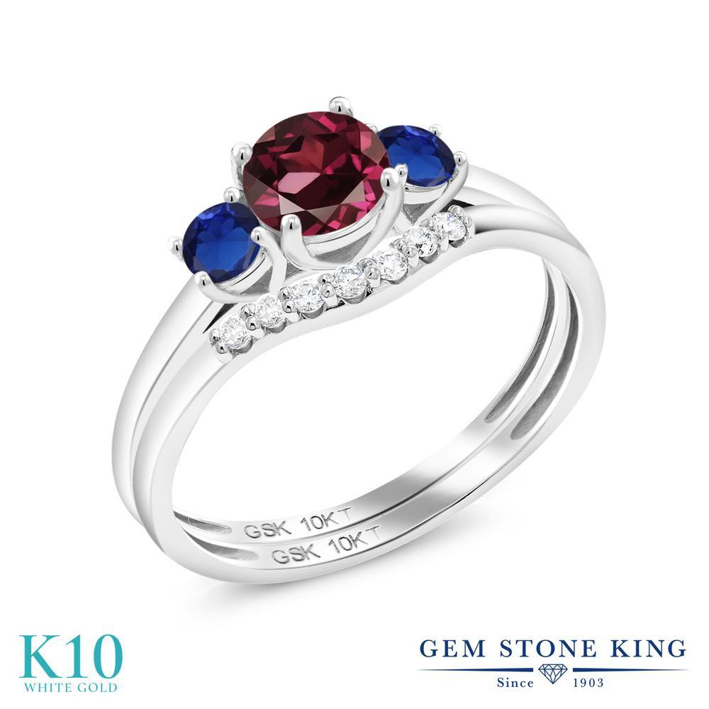 Gem Stone King 0.93カラット 天然 ロードライトガーネット シミュレイテッド サファイア 合成ダイヤモンド 10金 ホワイトゴールド(K10) 指輪 リング レディース スリーストーン 天然石 金属アレルギー対応 誕生日プレゼント
