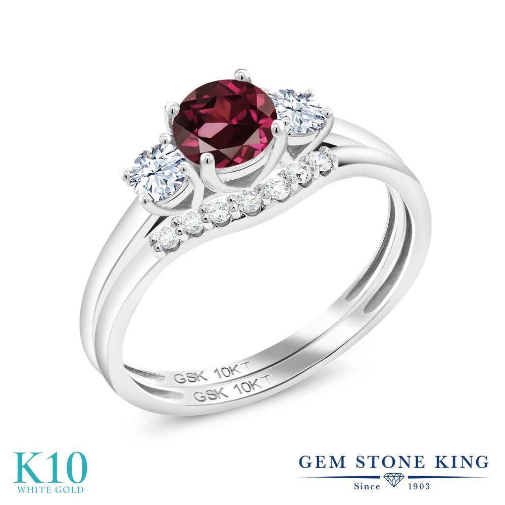 Gem Stone King 0.93カラット 天然 ロードライトガーネット 合成ホワイトサファイア (ダイヤのような無色透明) 合成ダイヤモンド 10金 ホワイトゴールド(K10) 指輪 リング レディース スリーストーン 天然石 金属アレルギー対応 誕生日プレゼント