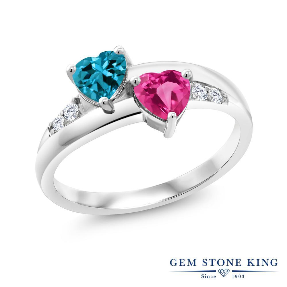 Gem Stone King 1.23カラット 天然トパーズ(ロンドンブルー) 合成ピンクサファイア 合成ダイヤモンド シルバー925 指輪 リング レディース バイパス 天然石 誕生石 金属アレルギー対応 誕生日プレゼント