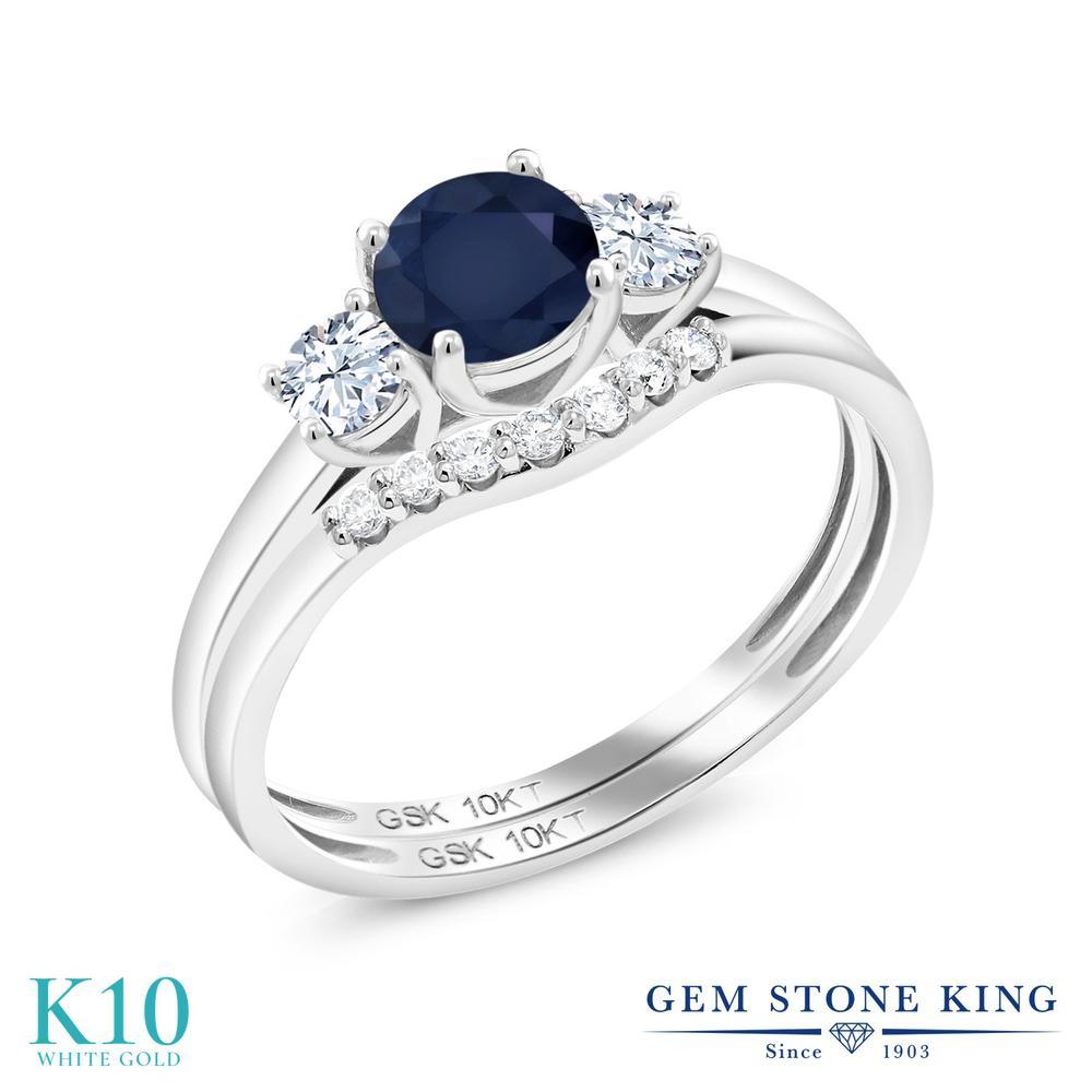 Gem Stone King 0.93カラット 天然 サファイア 合成ホワイトサファイア (ダイヤのような無色透明) 合成ダイヤモンド 10金 ホワイトゴールド(K10) 指輪 リング レディース スリーストーン 天然石 9月 誕生石 金属アレルギー対応 誕生日プレゼント