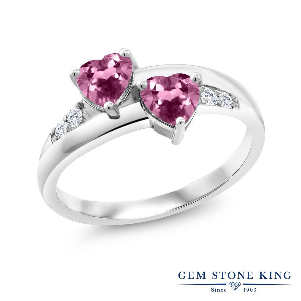 Gem Stone King 0.96カラット 天然 ピンクトルマリン 合成ダイヤモンド シルバー925 指輪 リング レディース 小粒 バイパス 天然石 10月 誕生石 金属アレルギー対応 誕生日プレゼント
