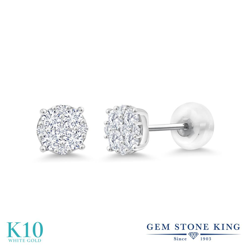 Gem Stone King 0.50カラット 合成ダイヤモンド 10金 ホワイトゴールド(K10) ピアス レディース 小粒 シンプル スタッド 金属アレルギー対応 誕生日プレゼント