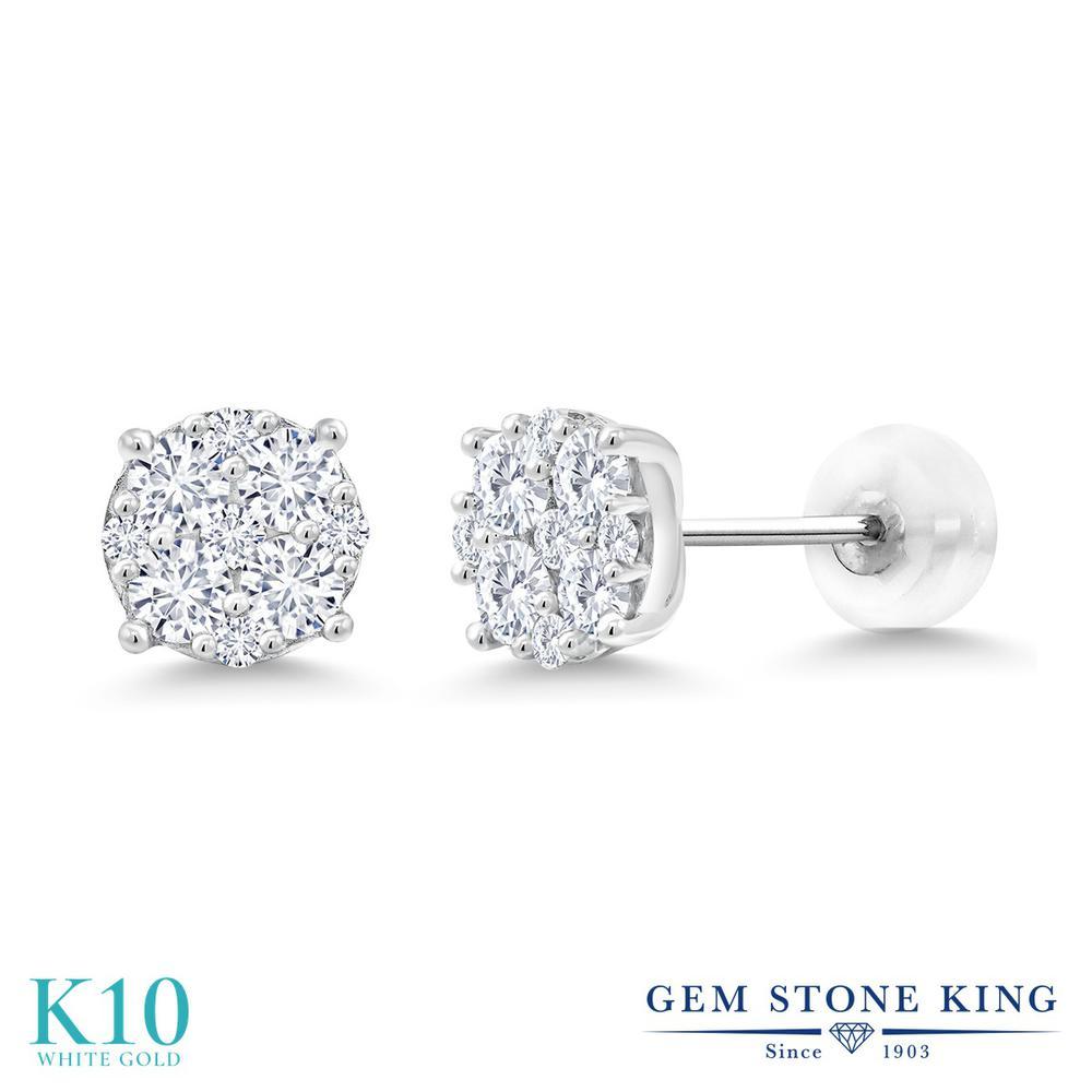 Gem Stone King 0.40カラット 合成ダイヤモンド 10金 ホワイトゴールド(K10) ピアス レディース 小粒 スタッド 金属アレルギー対応 誕生日プレゼント