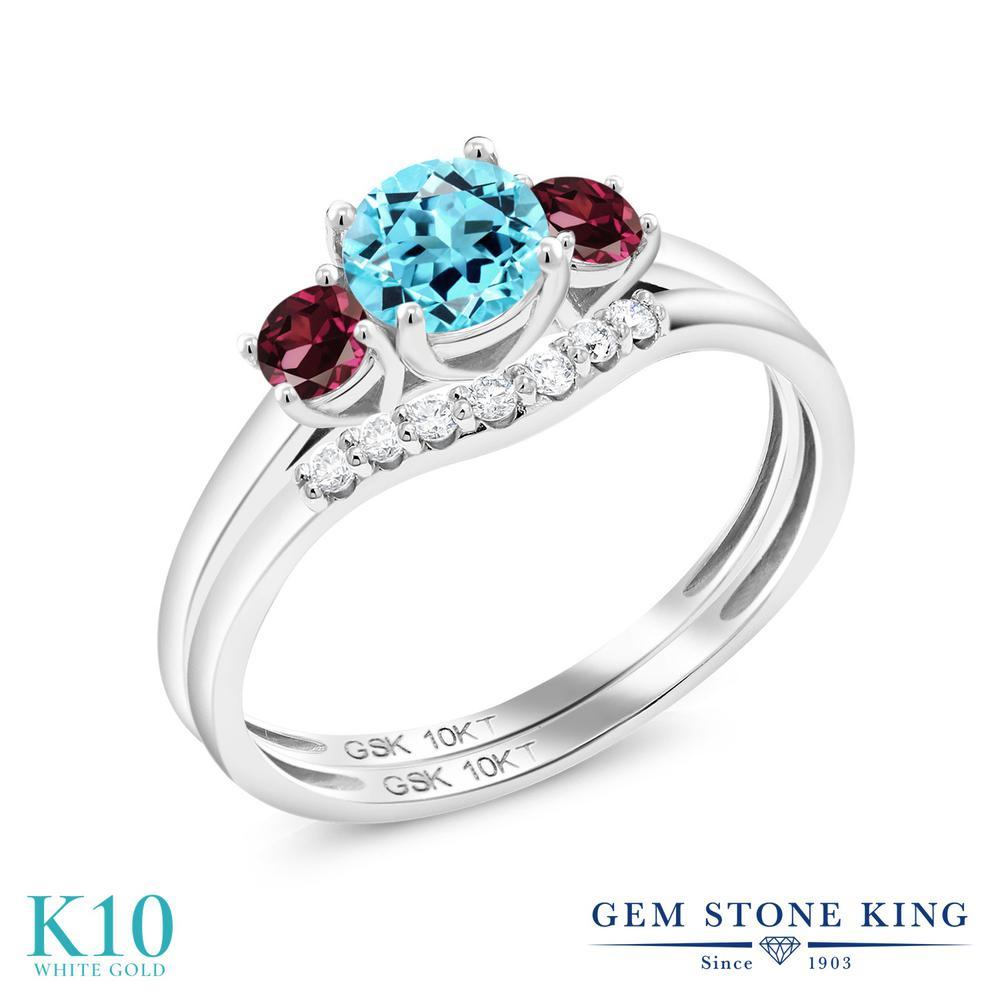Gem Stone King 0.86カラット 天然 スイスブルートパーズ 天然 ロードライトガーネット 合成ダイヤモンド 10金 ホワイトゴールド(K10) 指輪 リング レディース スリーストーン 天然石 11月 誕生石 金属アレルギー対応 誕生日プレゼント