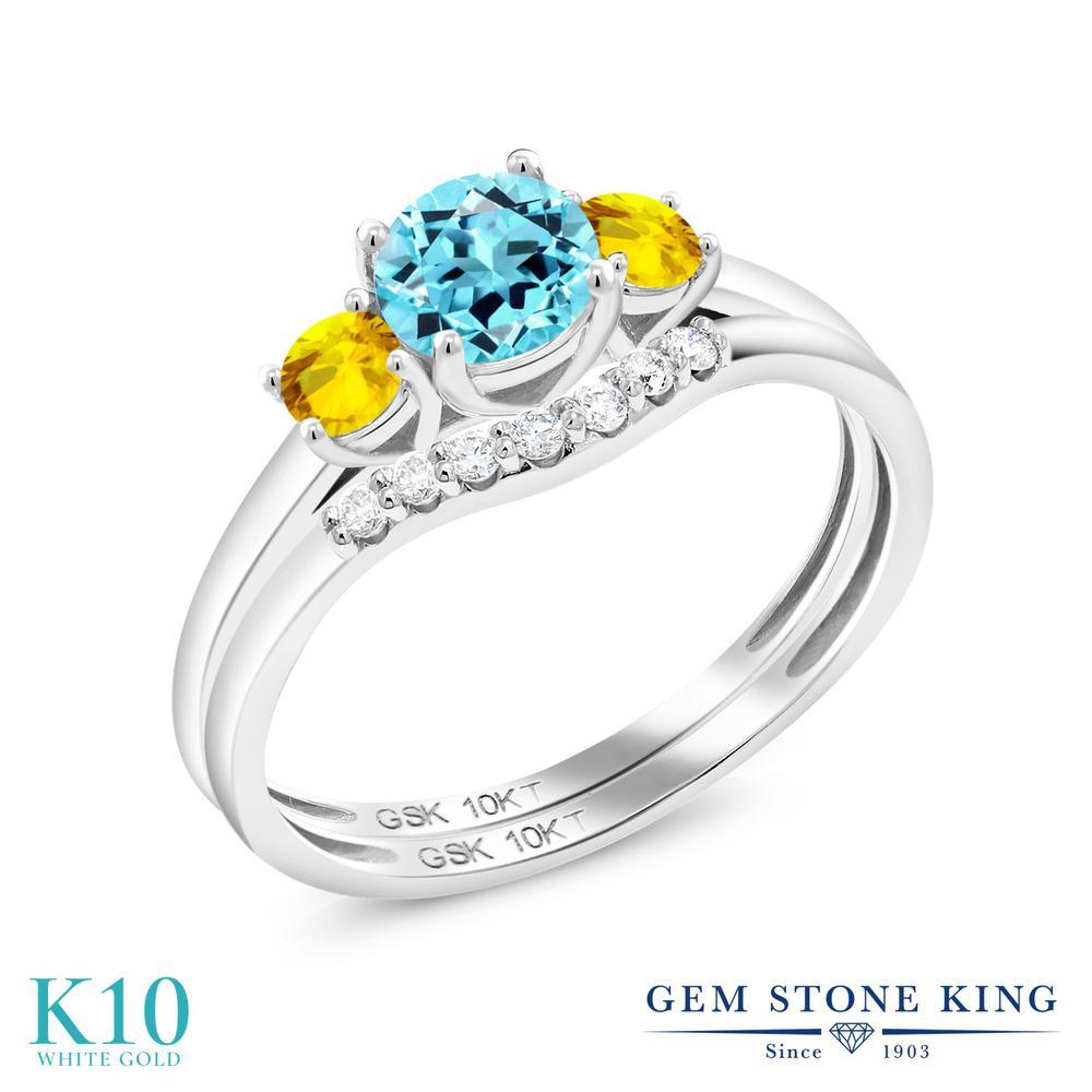 Gem Stone King 0.89カラット 天然 スイスブルートパーズ 天然 イエローサファイア 合成ダイヤモンド 10金 ホワイトゴールド(K10) 指輪 リング レディース スリーストーン 天然石 11月 誕生石 金属アレルギー対応 誕生日プレゼント