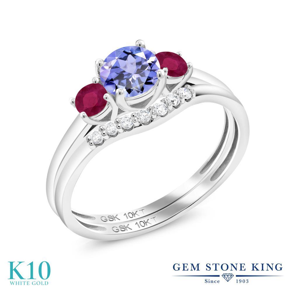 Gem Stone King 0.81カラット 天然石 タンザナイト 天然 ルビー 合成ダイヤモンド 10金 ホワイトゴールド(K10) 指輪 リング レディース 小粒 スリーストーン 天然石 12月 誕生石 金属アレルギー対応 誕生日プレゼント