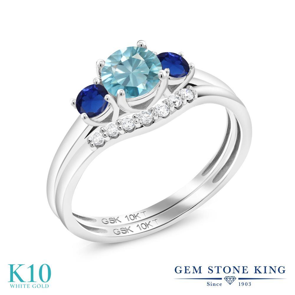 Gem Stone King 1.18カラット 天然石 ブルージルコン シミュレイテッド サファイア 合成ダイヤモンド 10金 ホワイトゴールド(K10) 指輪 リング レディース スリーストーン 天然石 12月 誕生石 金属アレルギー対応 誕生日プレゼント