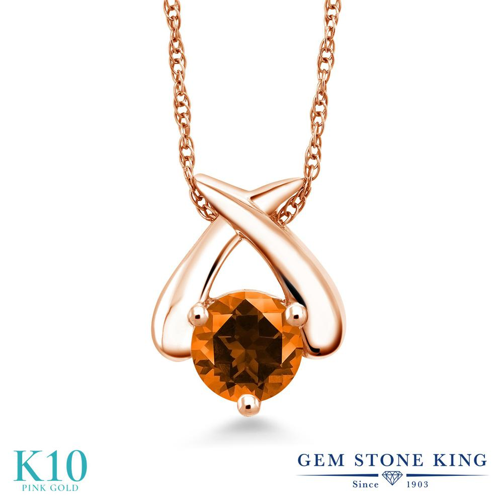 Gem Stone King 1カラット 天然石 トパーズ ポピー (スワロフスキー 天然石シリーズ) 10金 ピンクゴールド(K10) ネックレス ペンダント レディース 大粒 一粒 シンプル 天然石 金属アレルギー対応 誕生日プレゼント