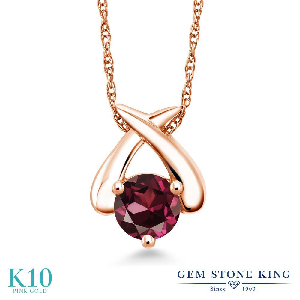 Gem Stone King 1カラット 天然 ロードライトガーネット 10金 ピンクゴールド(K10) ネックレス ペンダント レディース 大粒 一粒 シンプル 天然石 金属アレルギー対応 誕生日プレゼント