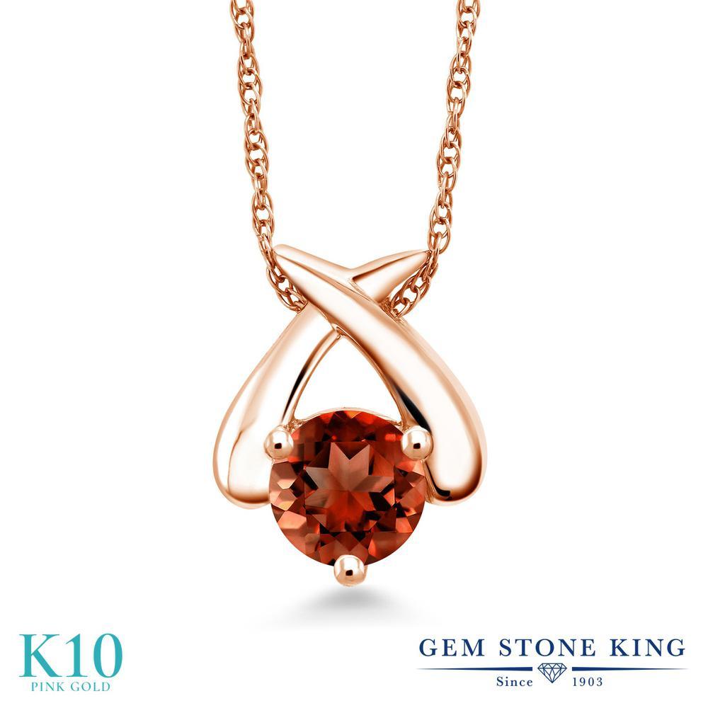 Gem Stone King 1カラット 天然 ガーネット 10金 ピンクゴールド(K10) ネックレス ペンダント レディース 大粒 一粒 シンプル 天然石 1月 誕生石 金属アレルギー対応 誕生日プレゼント