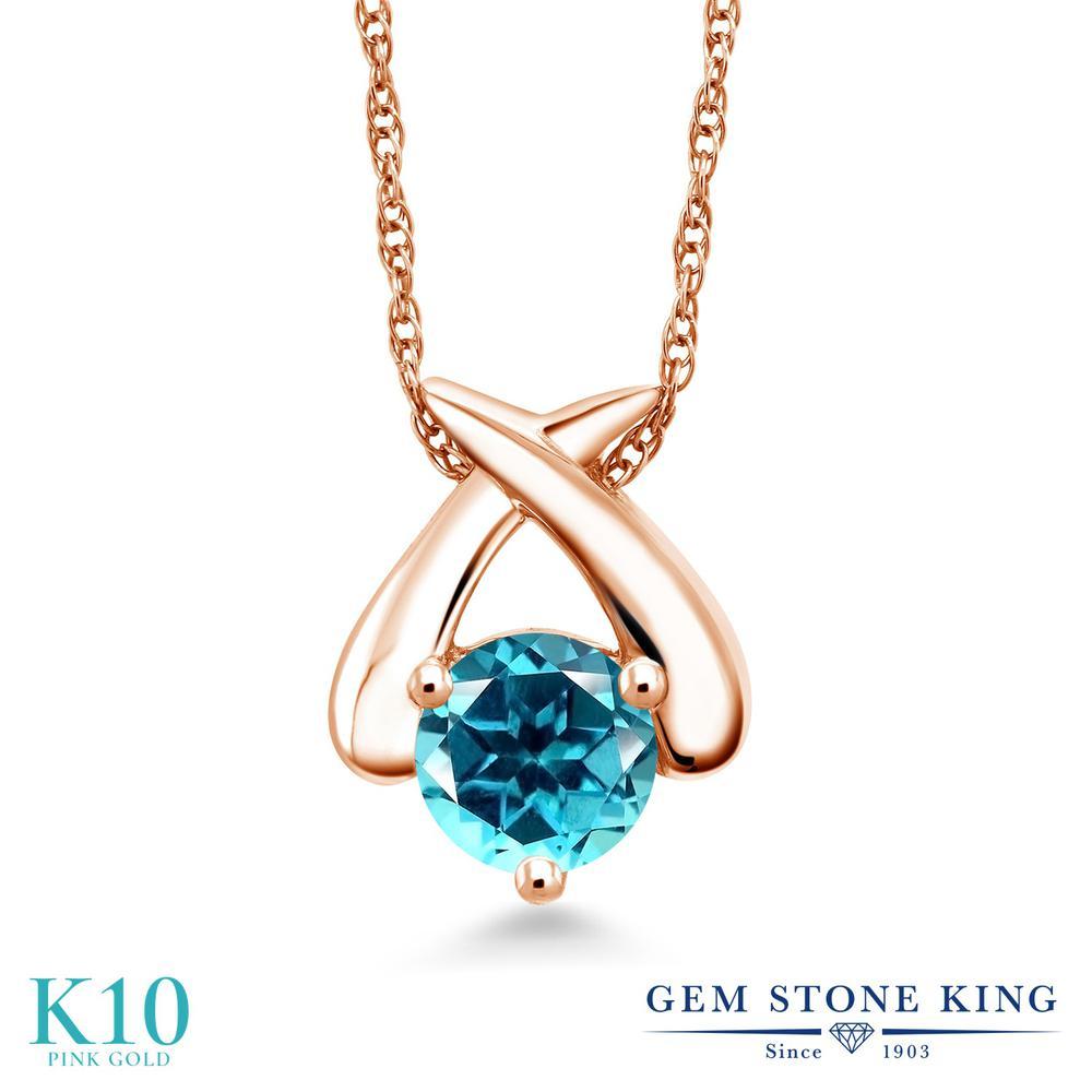 Gem Stone King 1カラット 天然石 パライバトパーズ (スワロフスキー 天然石シリーズ) 10金 ピンクゴールド(K10) ネックレス ペンダント レディース 大粒 一粒 シンプル 天然石 金属アレルギー対応 誕生日プレゼント