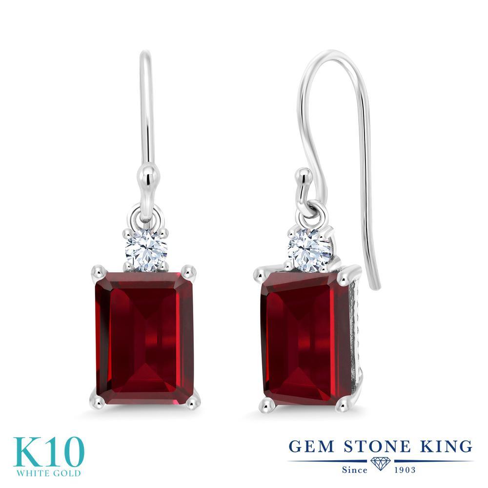 Gem Stone King 4カラット 天然 ガーネット 10金 ホワイトゴールド(K10) ピアス レディース 大粒 ぶら下がり フレンチワイヤー 天然石 1月 誕生石 金属アレルギー対応 誕生日プレゼント
