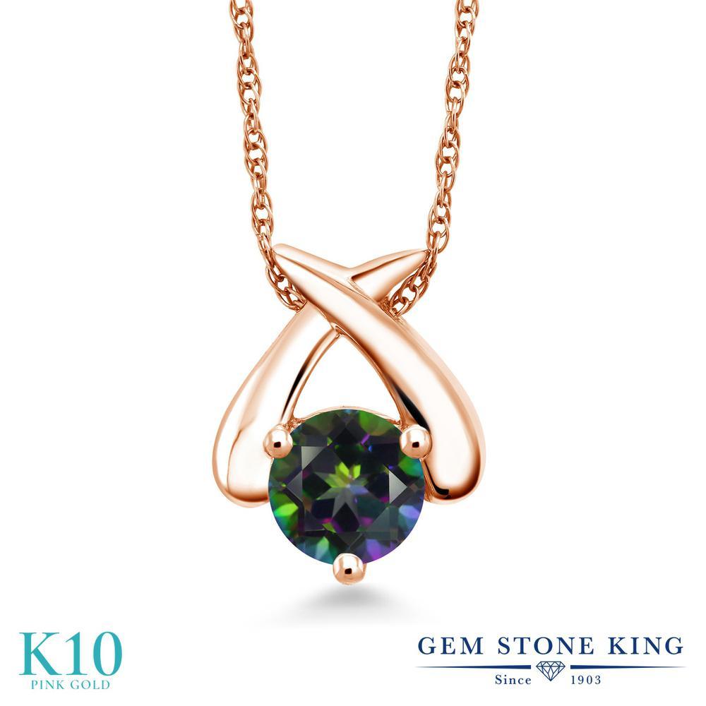 Gem Stone King 1カラット 天然石 ミスティックトパーズ (グリーン) 10金 ピンクゴールド(K10) ネックレス ペンダント レディース 大粒 一粒 シンプル 天然石 金属アレルギー対応 誕生日プレゼント