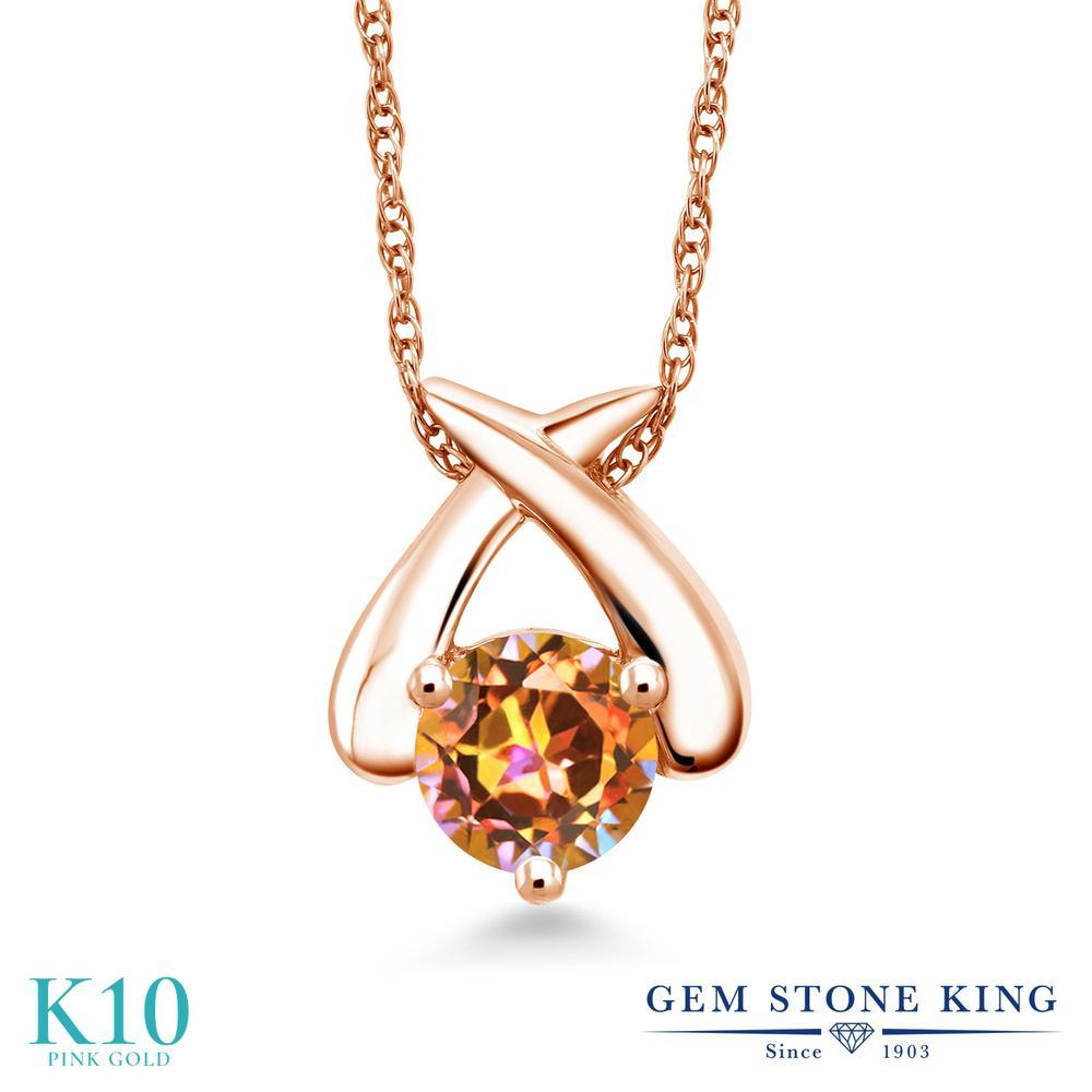 Gem Stone King 1カラット 天然石 エクスタシーミスティックトパーズ 10金 ピンクゴールド(K10) ネックレス ペンダント レディース 大粒 一粒 シンプル 天然石 金属アレルギー対応 誕生日プレゼント