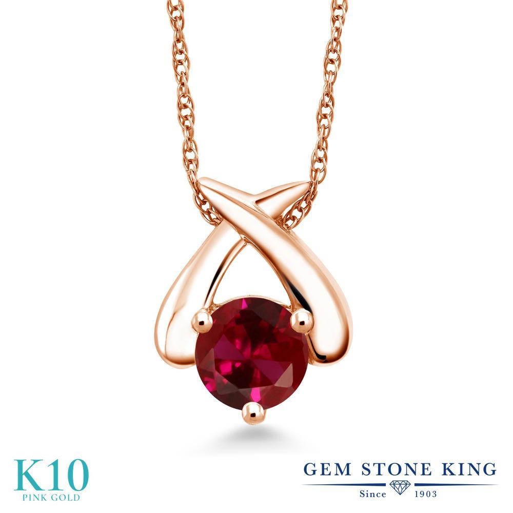 Gem Stone King 1カラット 合成ルビー 10金 ピンクゴールド(K10) ネックレス ペンダント レディース 大粒 一粒 シンプル 金属アレルギー対応 誕生日プレゼント