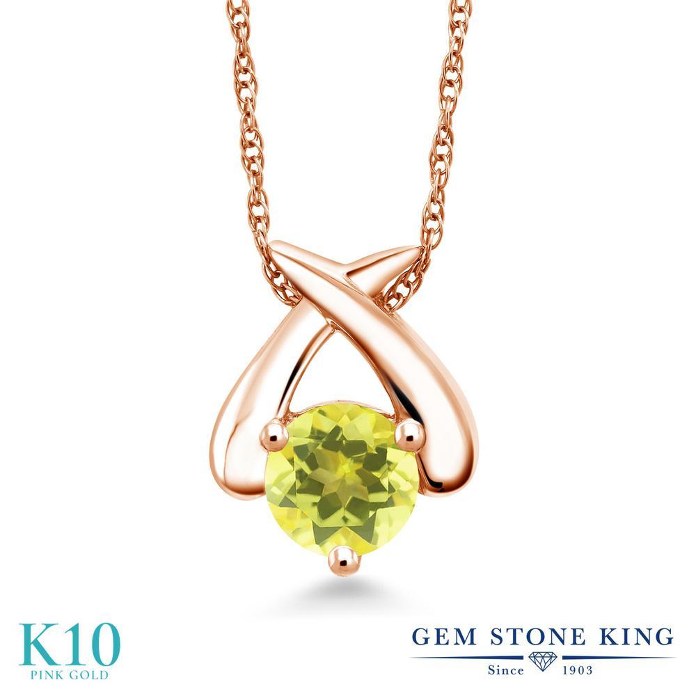 Gem Stone King 1カラット 天然石 ミスティックトパーズ (イエロー) 10金 ピンクゴールド(K10) ネックレス ペンダント レディース 大粒 一粒 シンプル 天然石 金属アレルギー対応 誕生日プレゼント