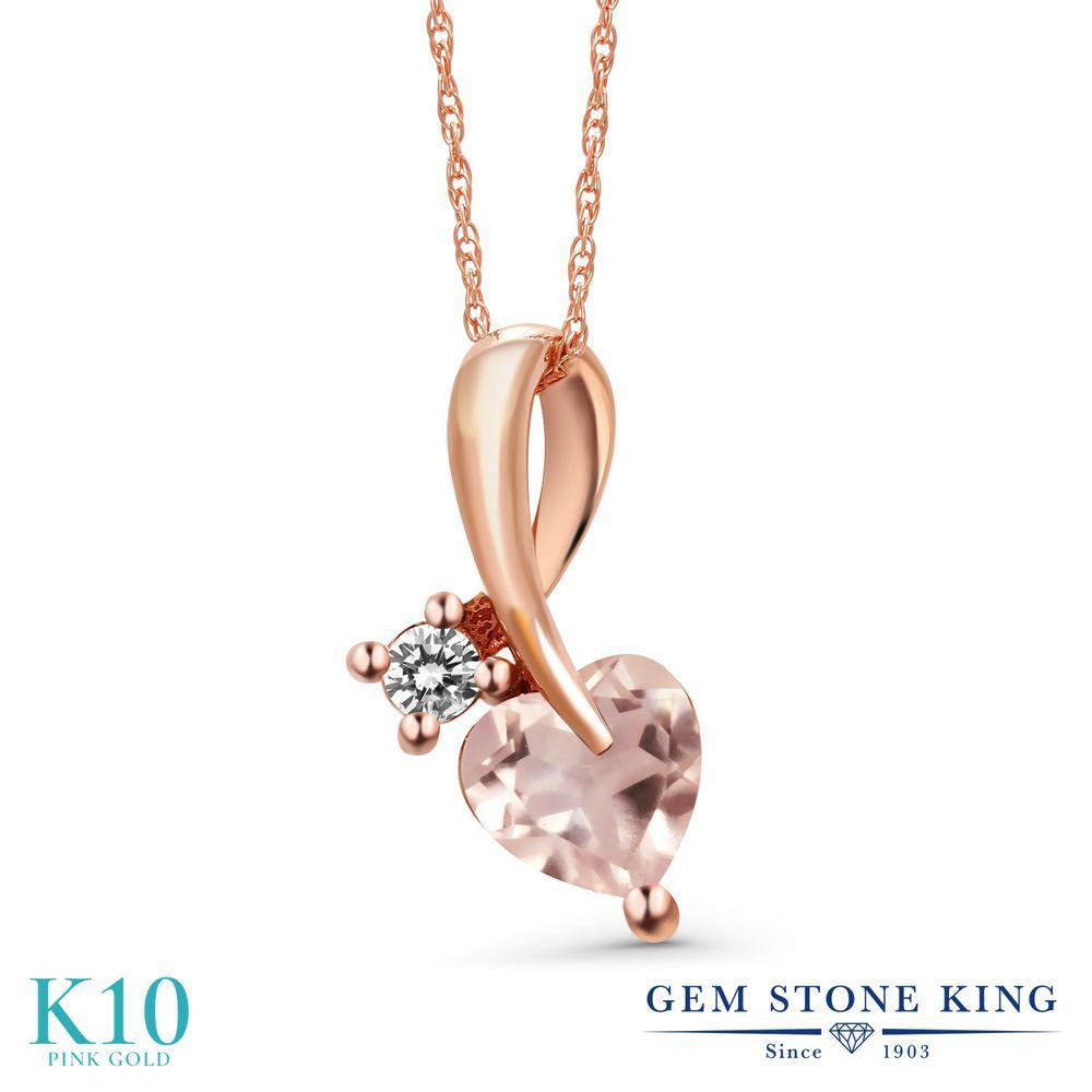 Gem Stone King 0.8カラット 天然 ローズクォーツ 天然 ダイヤモンド 10金 ピンクゴールド(K10) ネックレス ペンダント レディース シンプル 天然石 10月 誕生石 金属アレルギー対応 誕生日プレゼント