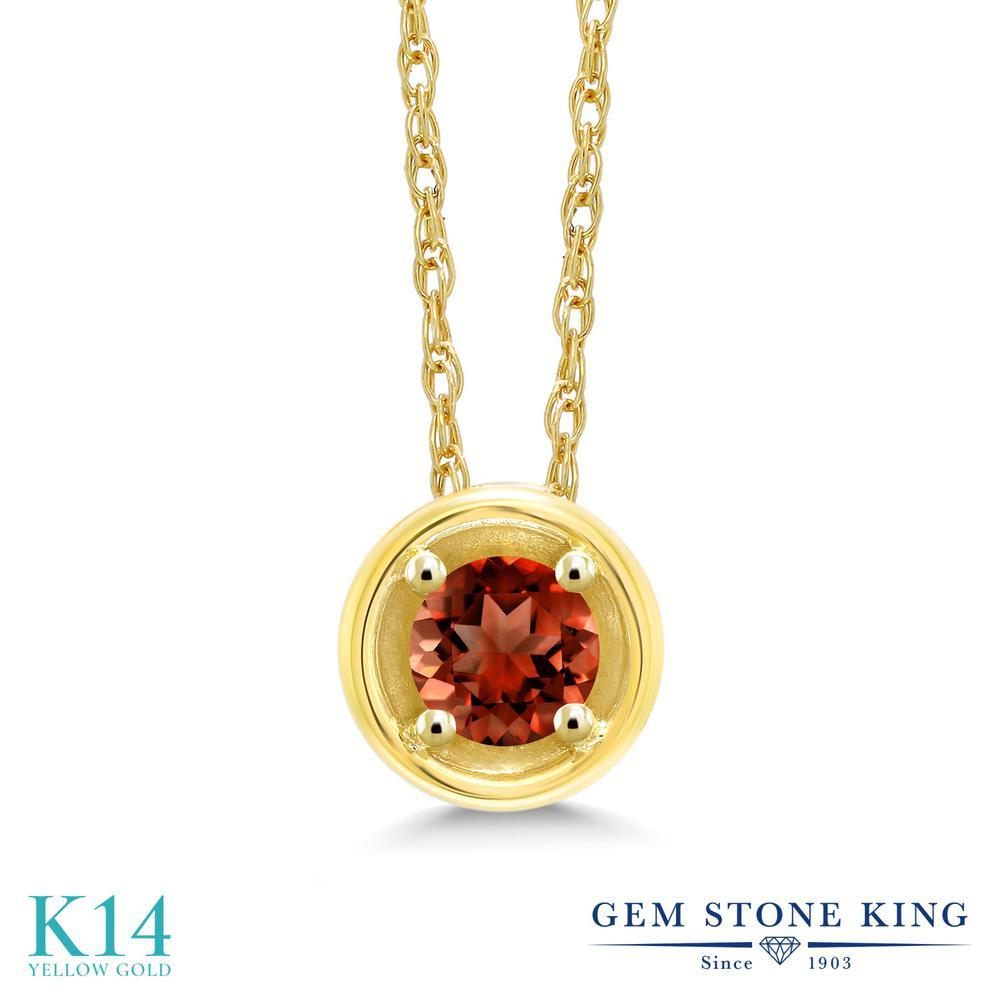 Gem Stone King 0.2カラット 天然 ガーネット 14金 イエローゴールド(K14) ネックレス ペンダント レディース 小粒 一粒 シンプル 天然石 1月 誕生石 金属アレルギー対応 誕生日プレゼント