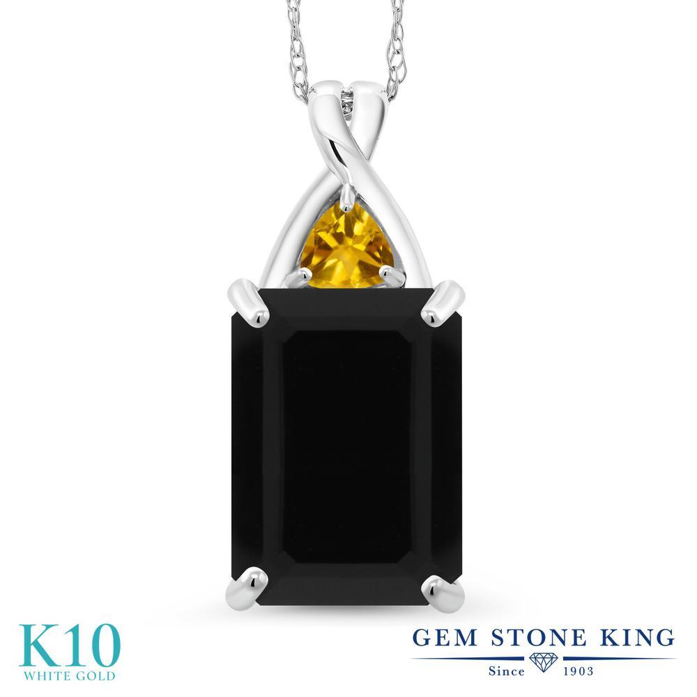 Gem Stone King 5.2カラット 天然 オニキス 天然 シトリン 10金 ホワイトゴールド(K10) ネックレス ペンダント レディース 大粒 シンプル 天然石 8月 誕生石 金属アレルギー対応 誕生日プレゼント