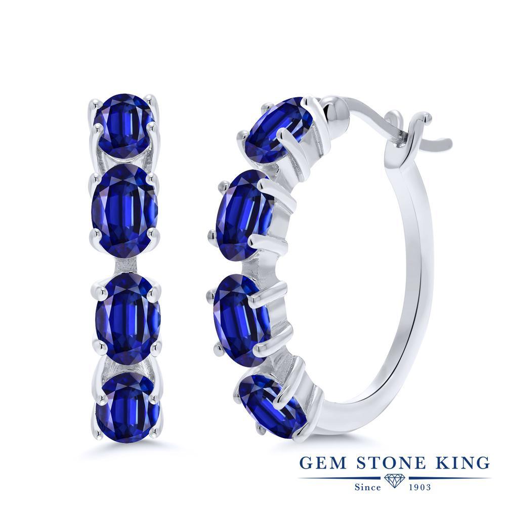 Gem Stone King 4.8カラット 天然 カイヤナイト (ブルー) シルバー925 ピアス レディース フープ 華奢 細身 天然石 金属アレルギー対応 誕生日プレゼント