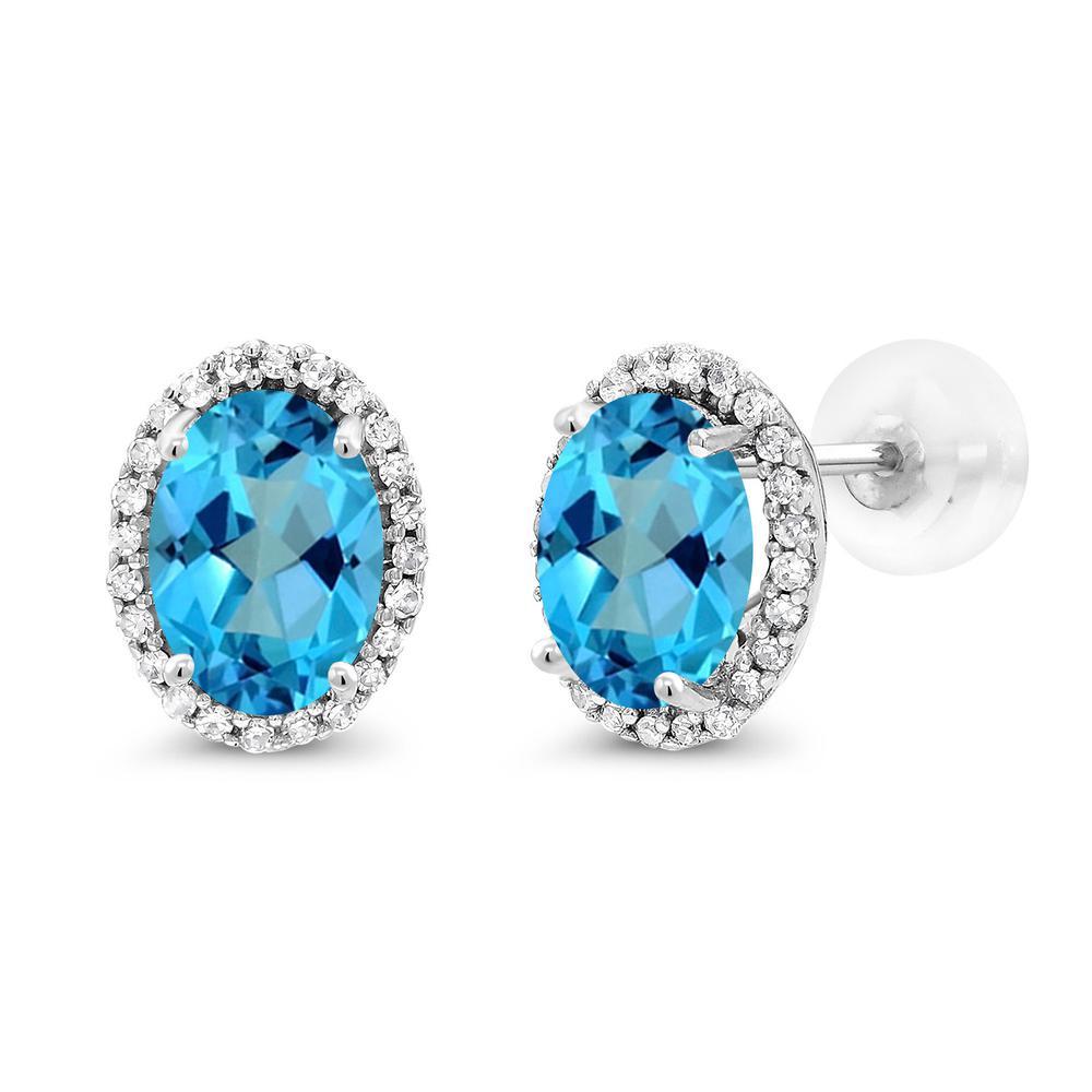 Gem Stone King 2.34カラット 天然石 ミスティックトパーズ (アメリカンブルー) 天然 ダイヤモンド 10金 ホワイトゴールド(K10) ピアス レディース 大粒 スタッド 天然石 金属アレルギー対応 誕生日プレゼント