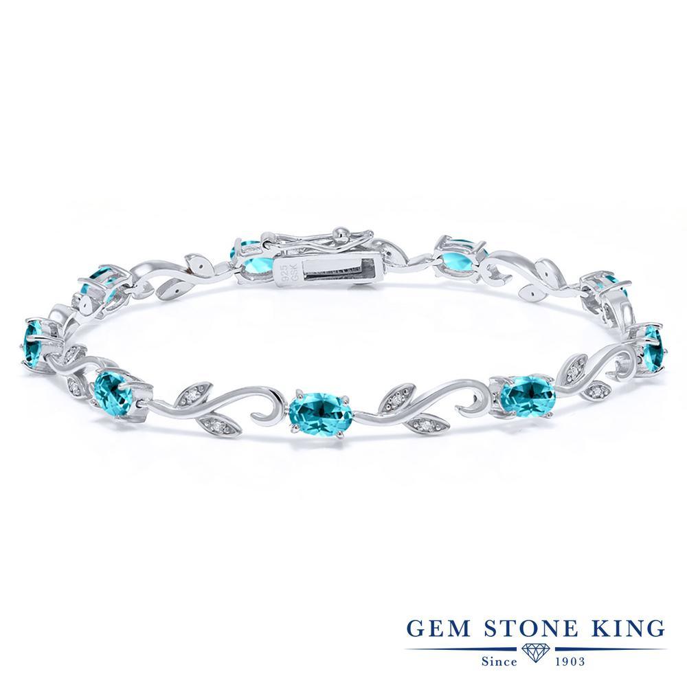 Gem Stone King 9.13カラット 天然石 パライバトパーズ (スワロフスキー 天然石シリーズ) 天然 ダイヤモンド シルバー925 ブレスレット テニスブレスレット レディース 大粒 天然石 金属アレルギー対応 誕生日プレゼント