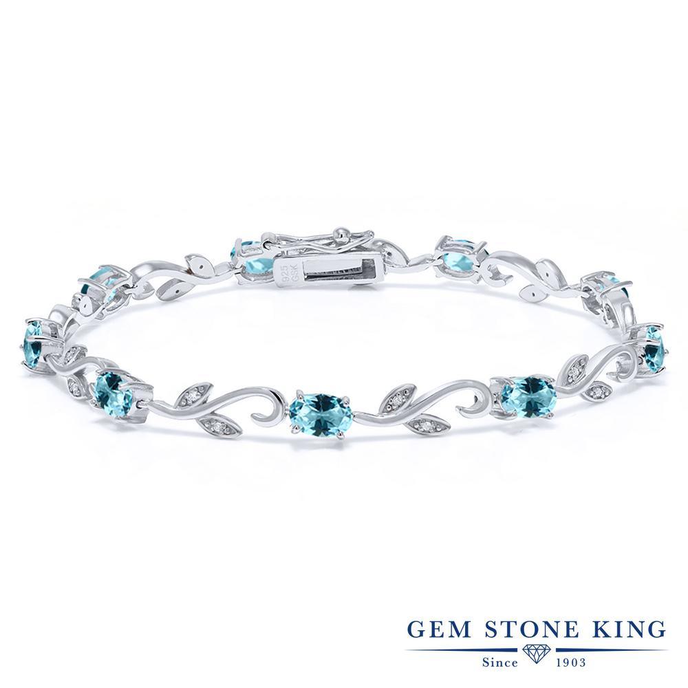 Gem Stone King 4.63カラット 天然石 アイスブルートパーズ (スワロフスキー 天然石シリーズ) 天然 ダイヤモンド シルバー925 ブレスレット テニスブレスレット レディース 小粒 天然石 金属アレルギー対応 誕生日プレゼント