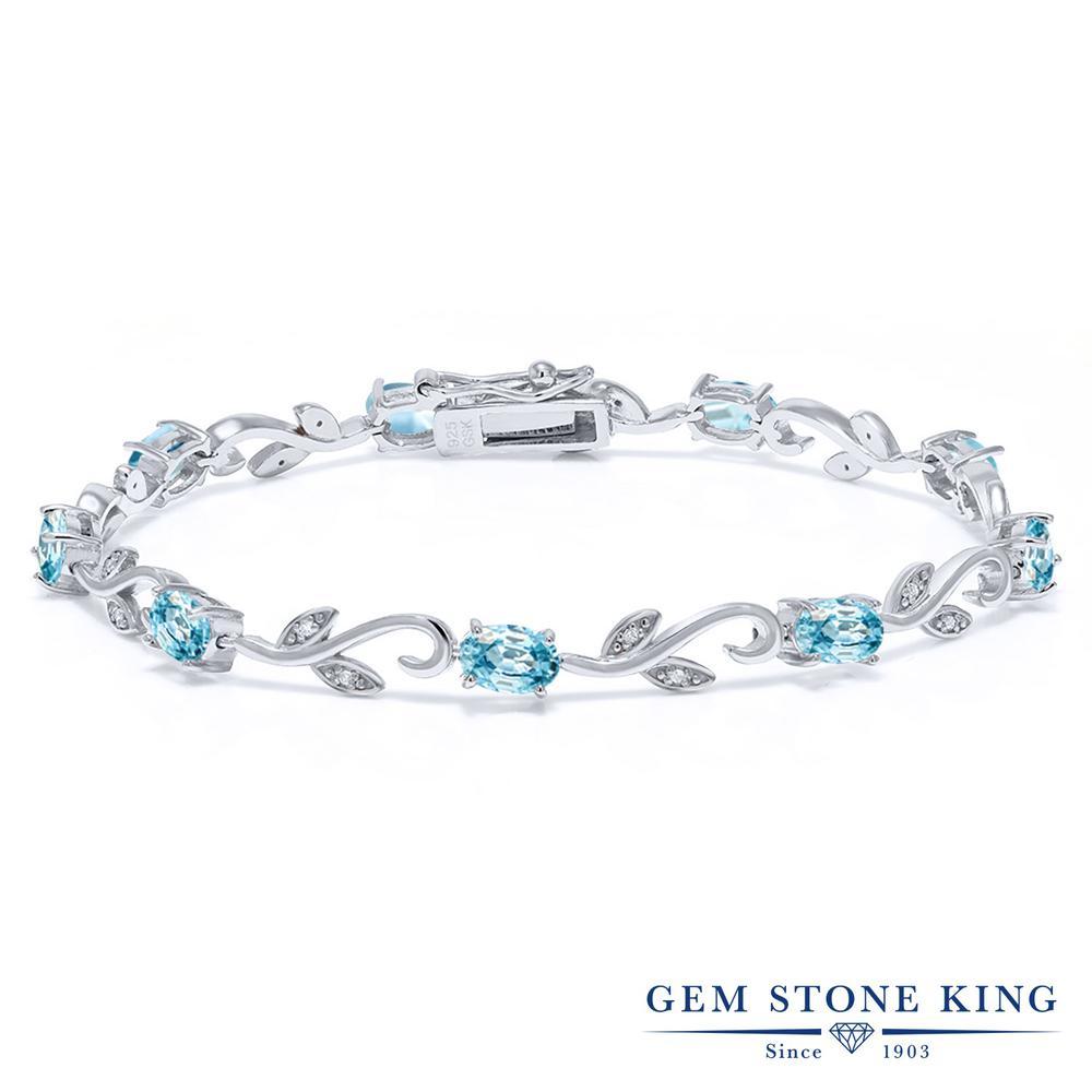 Gem Stone King 6.88カラット 天然石 ブルージルコン 天然 ダイヤモンド シルバー925 ブレスレット テニスブレスレット レディース グリークバイン 天然石 12月 誕生石 金属アレルギー対応 誕生日プレゼント