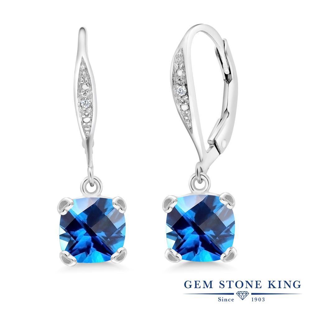 Gem Stone King 3.13カラット 天然石 カシミアブルートパーズ (スワロフスキー 天然石シリーズ) 天然 ダイヤモンド シルバー925 ピアス レディース 大粒 ぶら下がり レバーバック 天然石 金属アレルギー対応 誕生日プレゼント