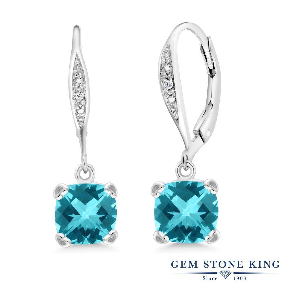 Gem Stone King 3.21カラット 天然石 パライバトパーズ (スワロフスキー 天然石シリーズ) 天然 ダイヤモンド シルバー925 ピアス レディース 大粒 ぶら下がり レバーバック 天然石 金属アレルギー対応 誕生日プレゼント