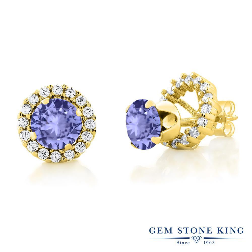 Gem Stone King 1.8カラット 天然石 タンザナイト シルバー925 イエローゴールドコーティング ピアス レディース シンプル ジャケット 天然石 12月 誕生石 金属アレルギー対応 誕生日プレゼント